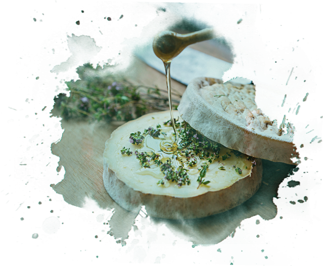 Baked Gubbeen cheese with thyme and honey